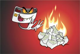 Against a blood red background, a credit card with evil looking eyes and smile waves his hands in front of a pile of currency, causing it to catch on fire.