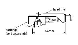 Mechanical diagram of a headshell and a cartridge. A line between the stylus tip and the tonearm end of the headshell reads 54mm.