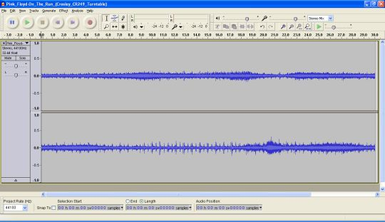 Screenshot from Audacity showing a narrow waveform.