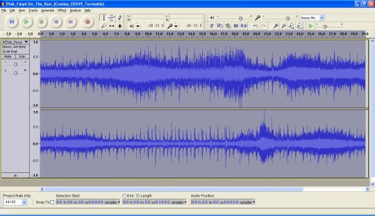 Screenshot from Audacity shows a normalized waveform that reaches peak volume.
