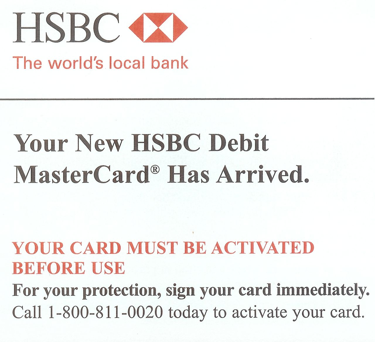 hsbc sends activated debit cards through mail