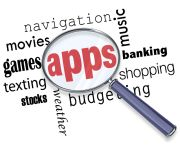 A magnifying glass hovers over categories of software such as music, games, shopping and others. Centered in the glass is the word 'apps.'