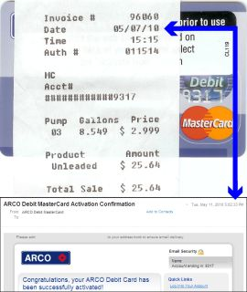 Combo photo shows a credit card receipt dated May 7 and an e-mail dated May 11. The e-mail subject line reads 'MasterCard Activation Confirmation.'