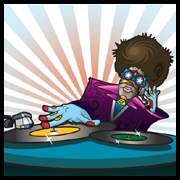 An illustration of a DJ scratching a record with an arrow pointing to the official USB logo.