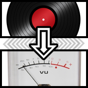 An record with an arrow pointing to an analog volume meter (VU).