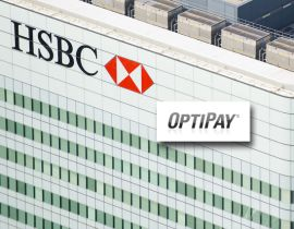 Photo of an HSBC high-rise building with an overlaid OptiPay logo.