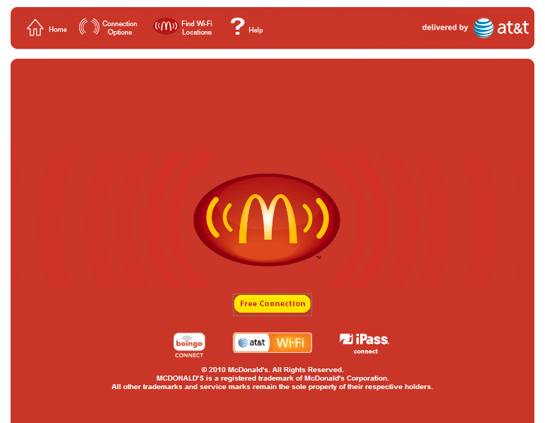 screenshot of the new free sign in page button below mcdonalds logo reads
