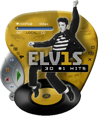 Windows Media Player with an Elvis-themed Skin